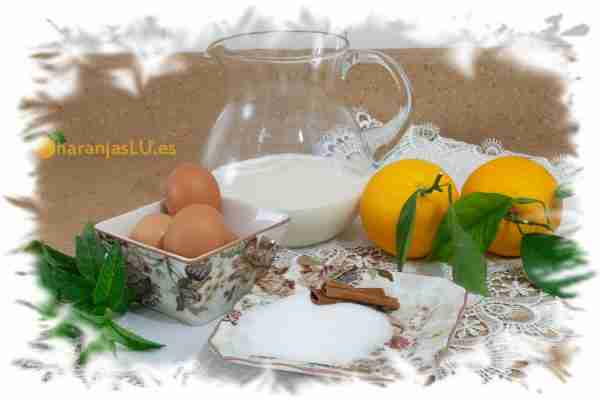 Ingredientes para hacer un flan de naranja casero